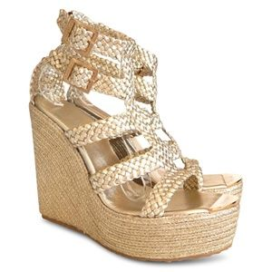 NEW Parody Braided Leather Wedge Sandals - Gold